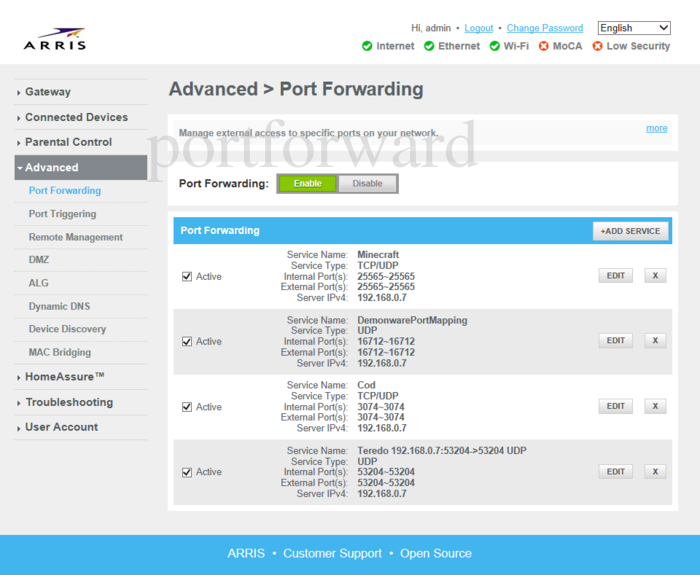 How To Port Forward Fortnite Arris Forwarding Ports In A Arris Dg3450a Router
