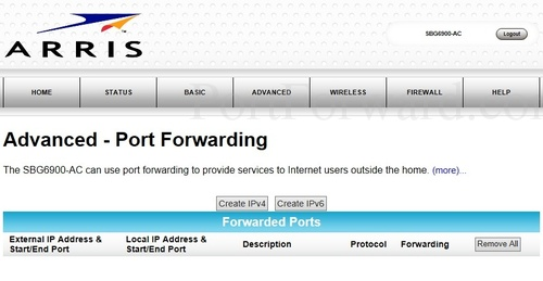 Arris SBG6900-AC Router Port Forwarding Steps
