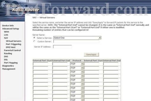 Comtrend NexusLink 5631 Router Port Forwarding Instructions