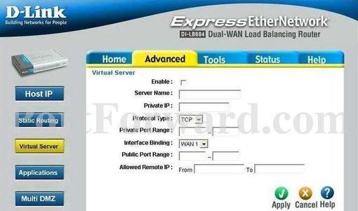 D-Link DI-LB604 Router Open Port Instructions