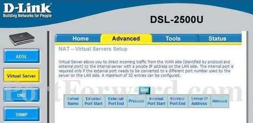 Fastest d-link dsl-2500u router open port instructions.