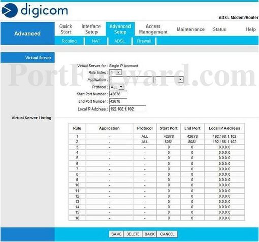 Digicom MichelangeloWave-8E4371 port forward
