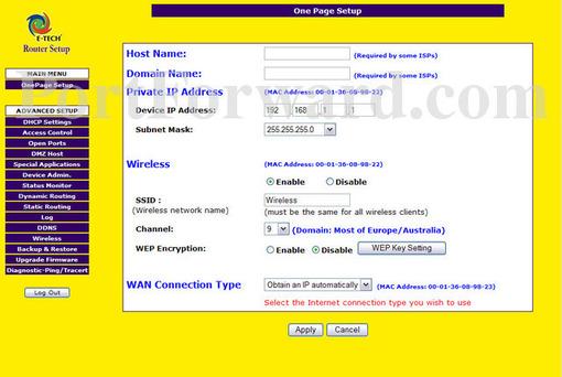 Simple E-Tech RTVP03 Router Port Forwarding