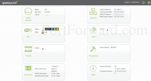 Green packet modem port forwarding