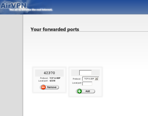 AirVPN port forwarding form