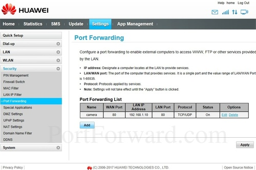 Huawei B315s-22 Port Forwarding