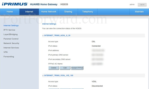 Huawei HG659_-_iPrimus Internet Settings