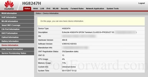 Huawei HG8247H Device Information