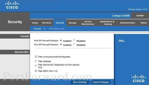 Simple Linksys EA4500 Router Port Forwarding