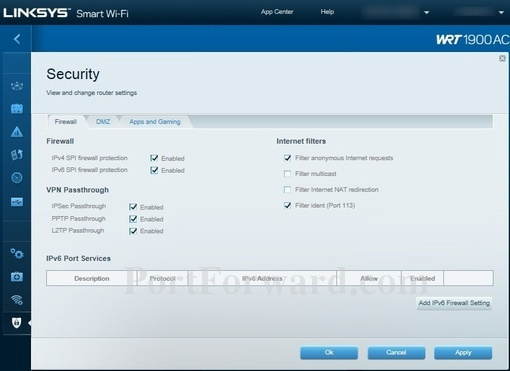 Forwarding Ports in a Linksys WRT1900AC Router