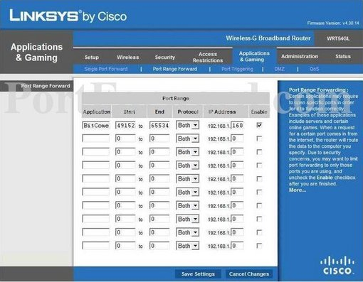 Linksys WRT54GLv4.30 port forward