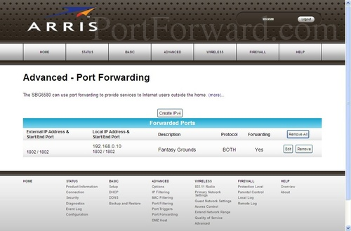 Motorola SBG6580 - Arris Port Forwarding