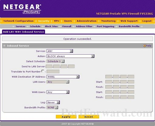Netgear FVS336Gv3 port forward