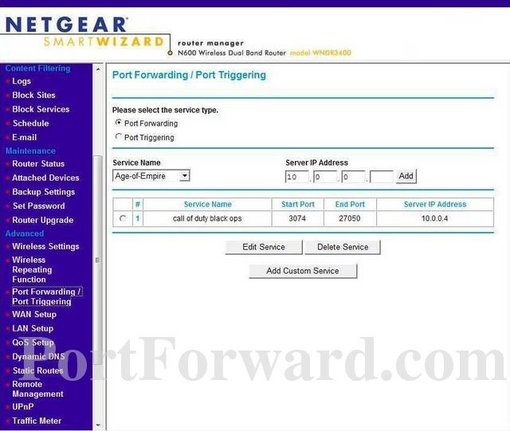 Opening Ports in a Netgear WNDR3400 Router