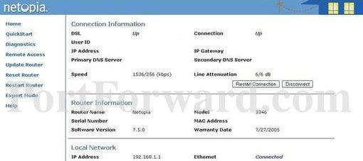 Netopia 3346n-002 router port forwarding steps.