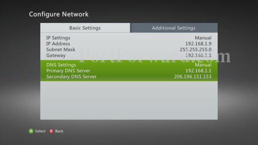 how to set up a static ip address on your xbox 360 rh portforward com xbox 360 manual dns xbox 360 manual dns