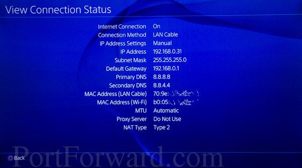PlayStation 4 view connection status ip address subnet mask gateway, DNS settings