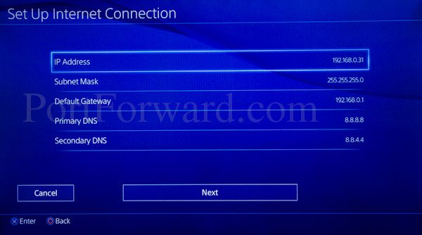Static IP Address for PS4