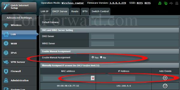 Assigning static ip addresses