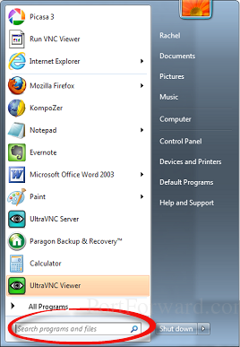start menu dialog box with circle