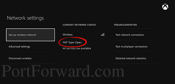 xbox one network settings open nat with arrow