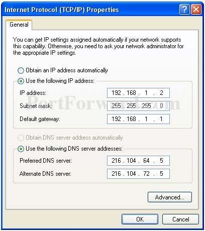Setting a Static IP Address in Windows XP