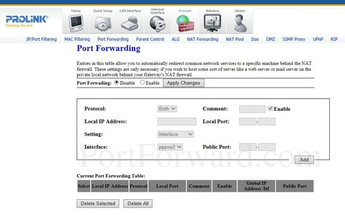 Prolink H5201 Port Forwarding