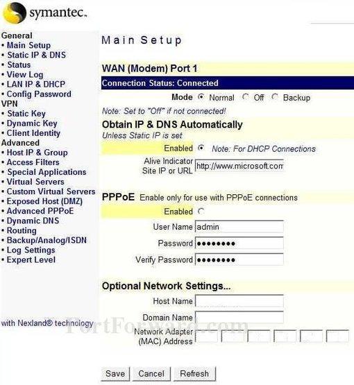 Simple Symantec 200R Router Port Forwarding