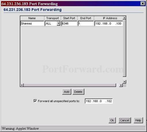 dfo port forward application name