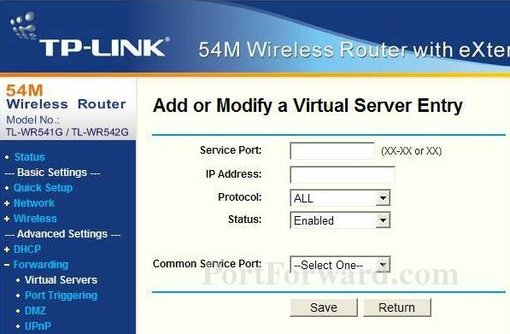 TP-Link TL-WR542Gv3 port forward