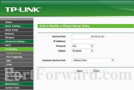 TP-Link TL-WR841N Router Port Forwarding Steps