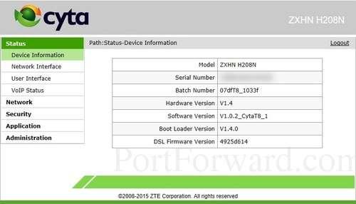ZTE ZXHN H208N Router Open Port Guide